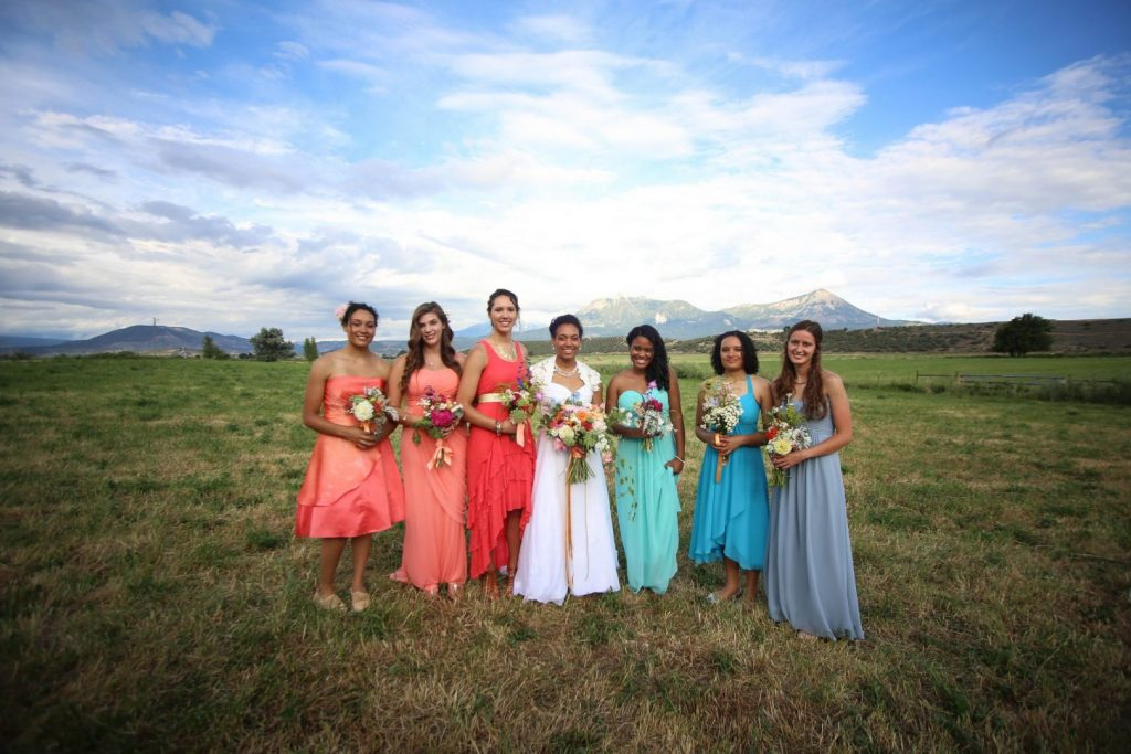 An outdoor wedding in Paonia bride and bridesmaids