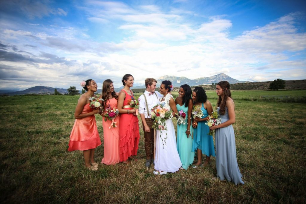 An outdoor wedding in Paonia with bridesmaids