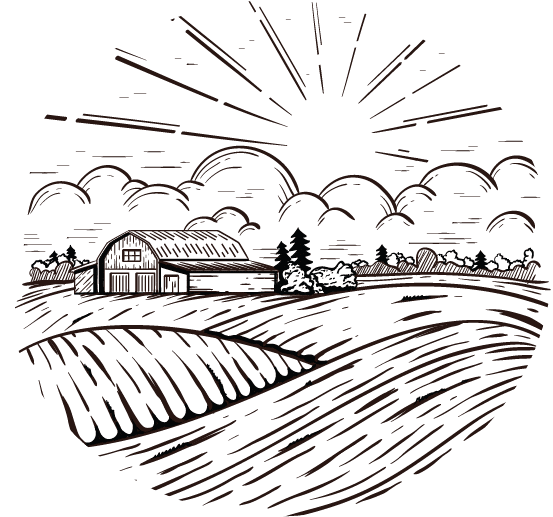 a sketched drawing of a farm