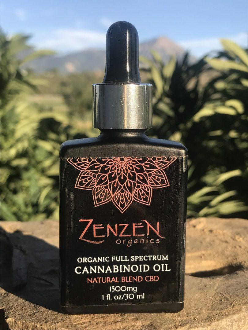 1oz. bottle of 1500mg Full spectrum organic CBD oil by Zenzen Organics