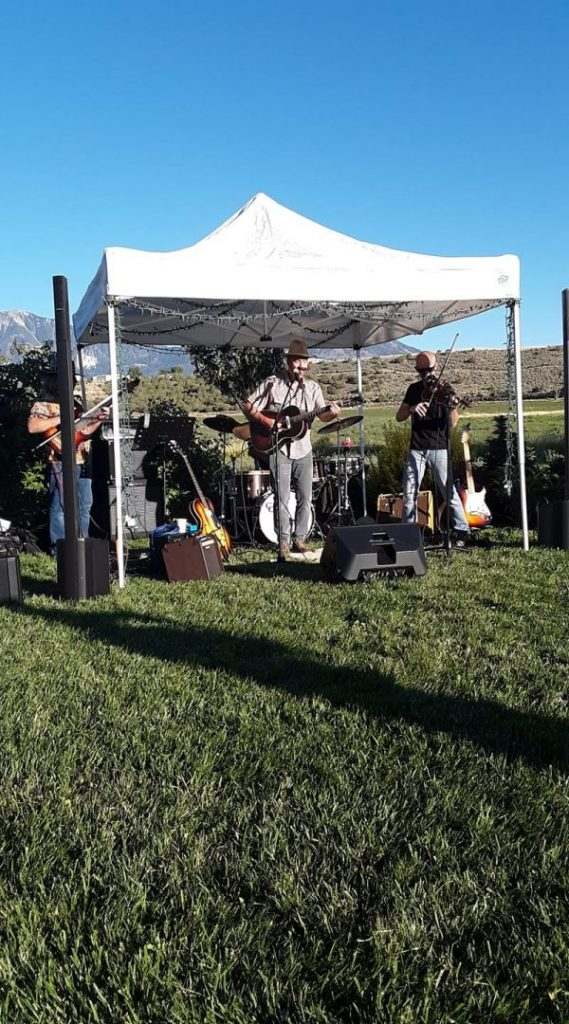 Musical event at Zenzen farm, a band playing outdoors.